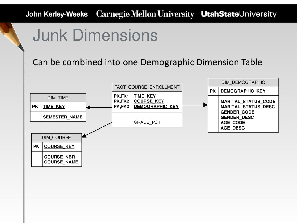 Junk Dimensions Can be combined into one Demogr...