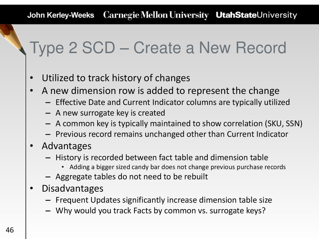 Type 2 SCD – Create a New Record • Utilized to ...