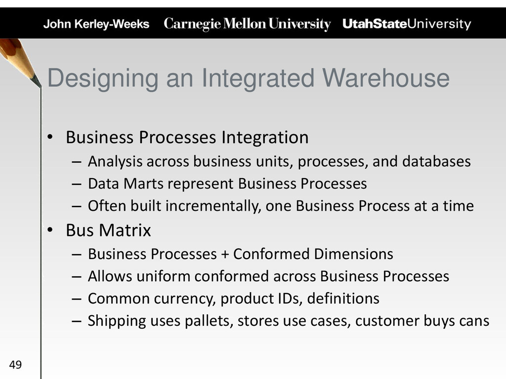 Designing an Integrated Warehouse • Business Pr...