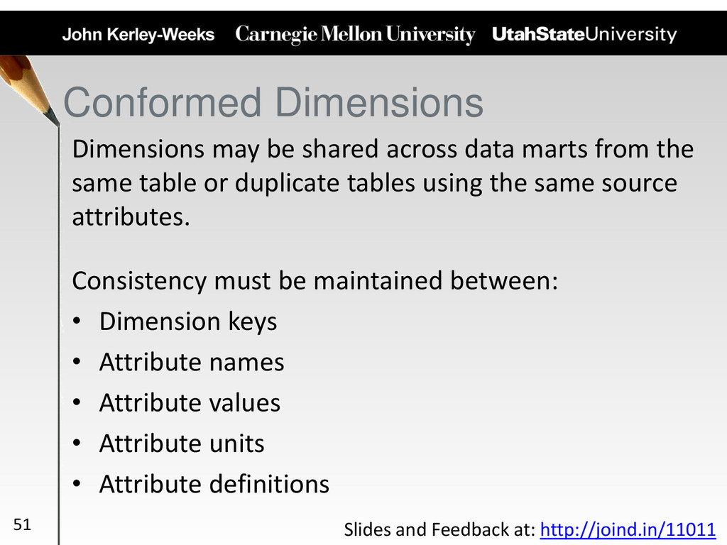 Conformed Dimensions Dimensions may be shared a...