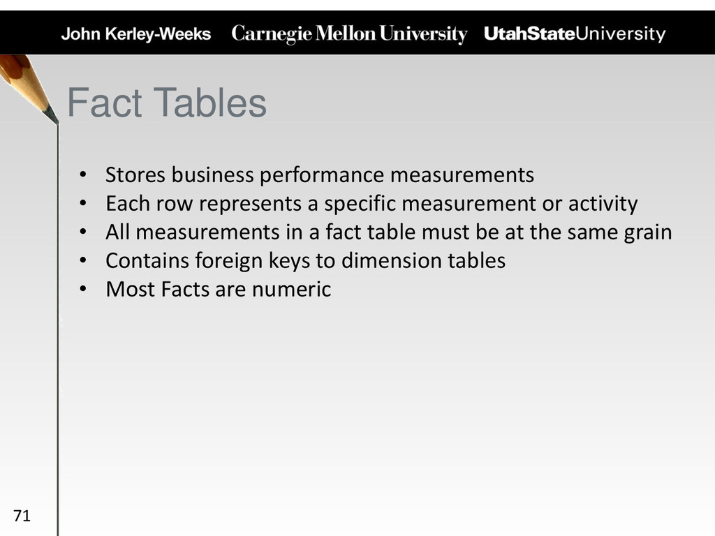Fact Tables • Stores business performance measu...