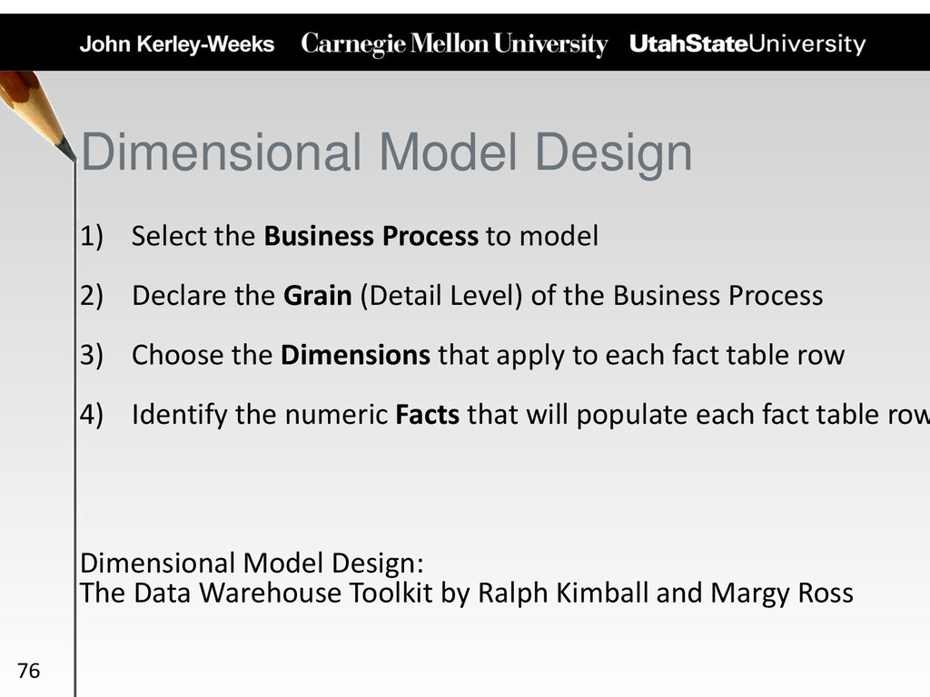 1) Select the Business Process to model 2) Decl...
