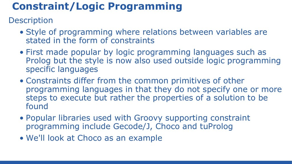 Constraint/Logic Programming Description • Styl...
