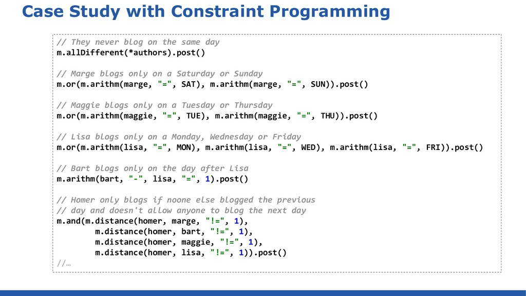 Case Study with Constraint Programming // They ...