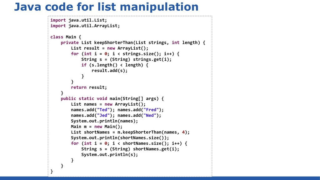 Java code for list manipulation import java.uti...