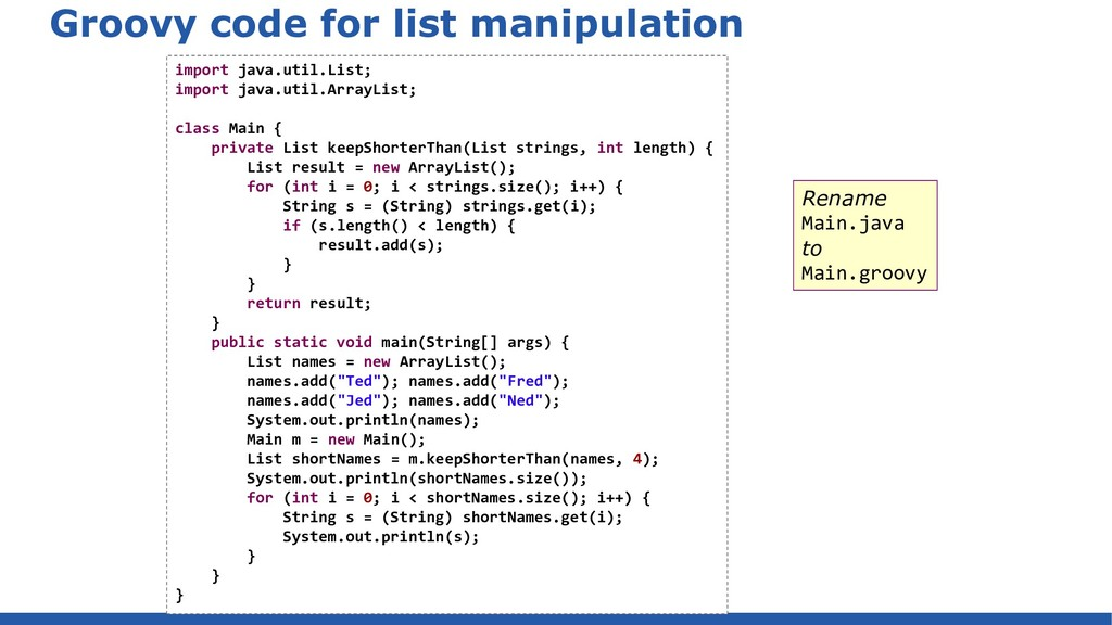 Groovy code for list manipulation import java.u...