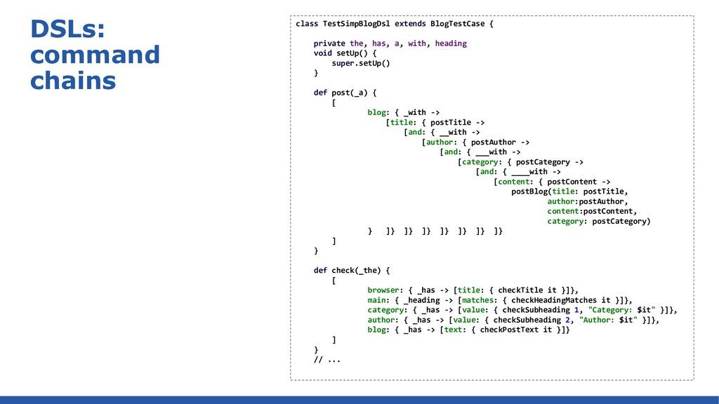 DSLs: command chains class TestSimpBlogDsl exte...