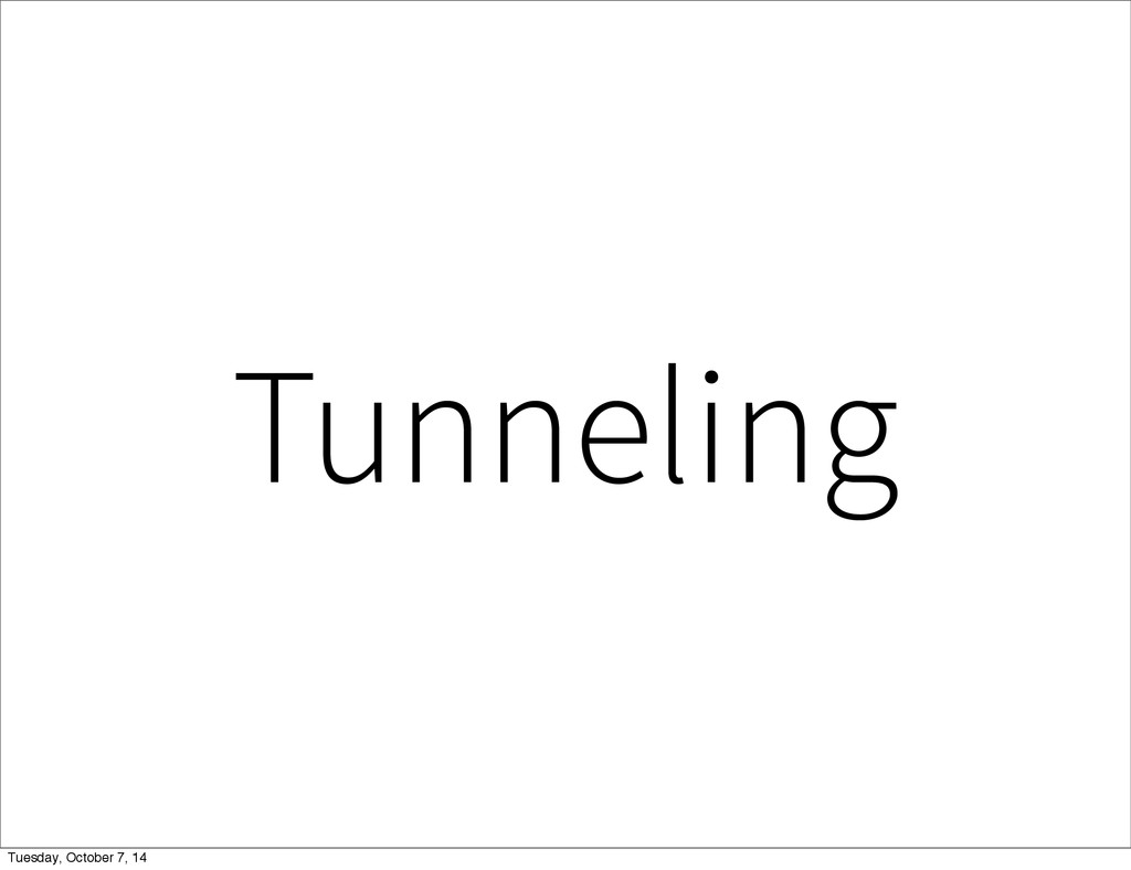 Tunneling Tuesday, October 7, 14