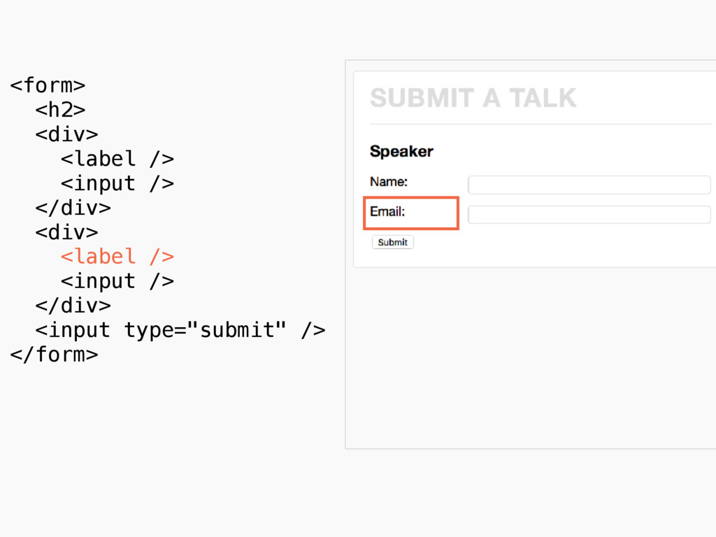 <form> <h2> <div> <label /> <input /> </div> ...