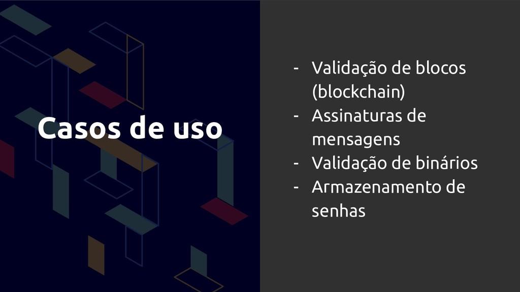 Casos de uso - Validação de blocos (blockchain)...