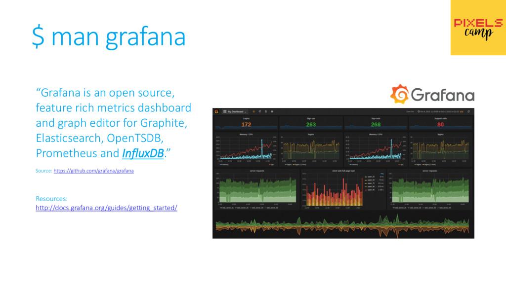 """$ man grafana """"Grafana is an open source, featu..."""