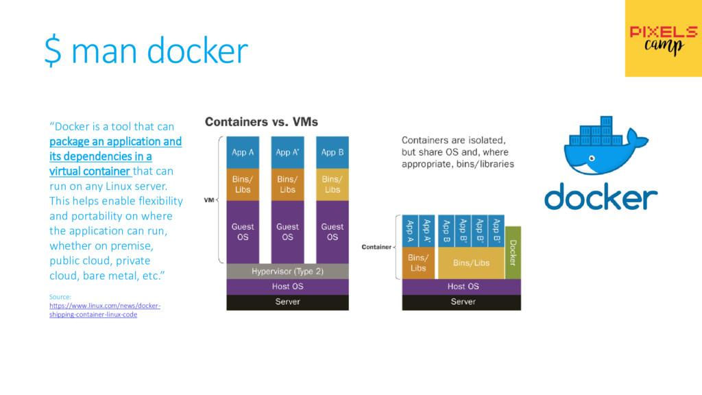 """$ man docker """"Docker is a tool that can package..."""