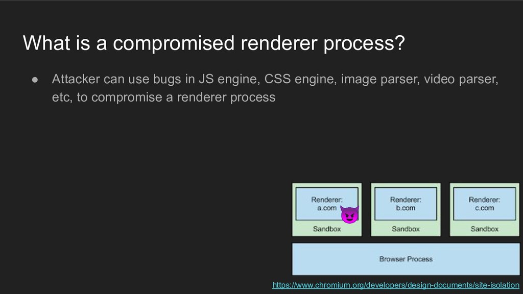 What is a compromised renderer process? ● Attac...