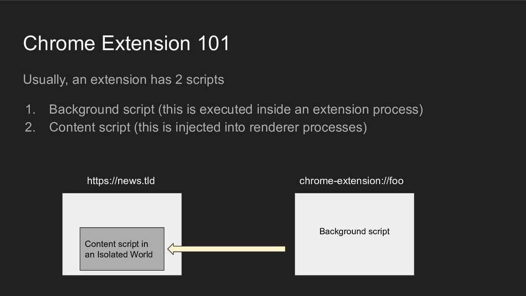 Chrome Extension 101 Usually, an extension has ...