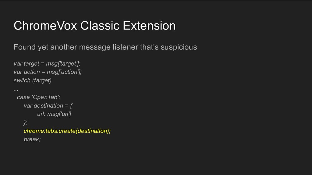 ChromeVox Classic Extension Found yet another m...