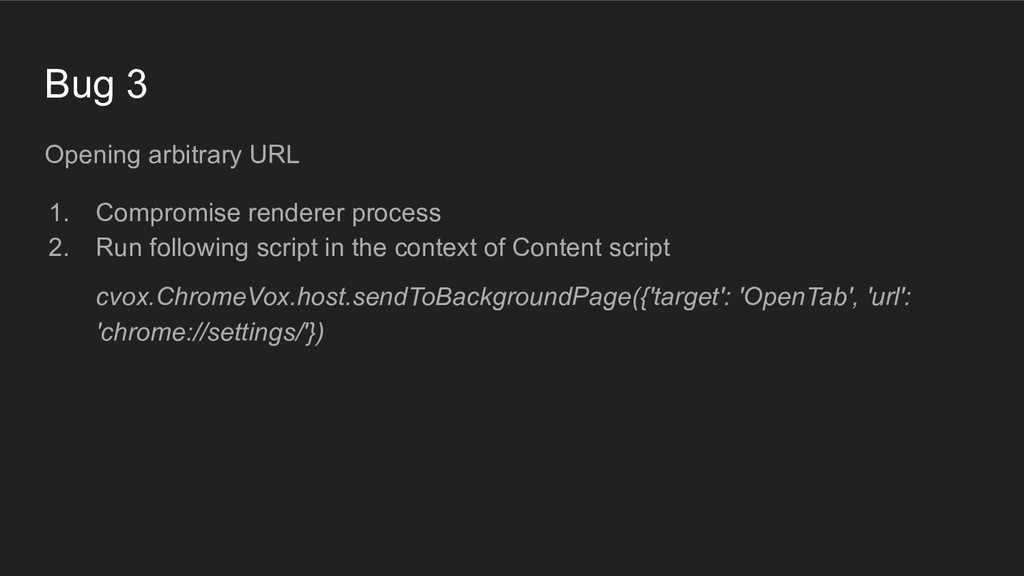 Bug 3 Opening arbitrary URL 1. Compromise rende...
