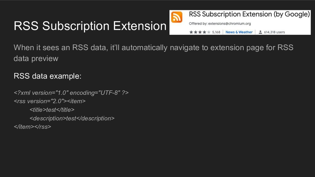 RSS Subscription Extension When it sees an RSS ...