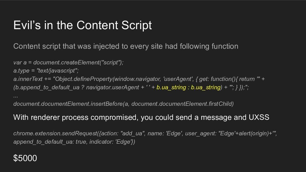 Evil's in the Content Script Content script tha...