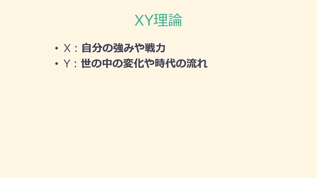 XY理論 • X︓⾃分の強みや戦⼒ • Y︓世の中の変化や時代の流れ