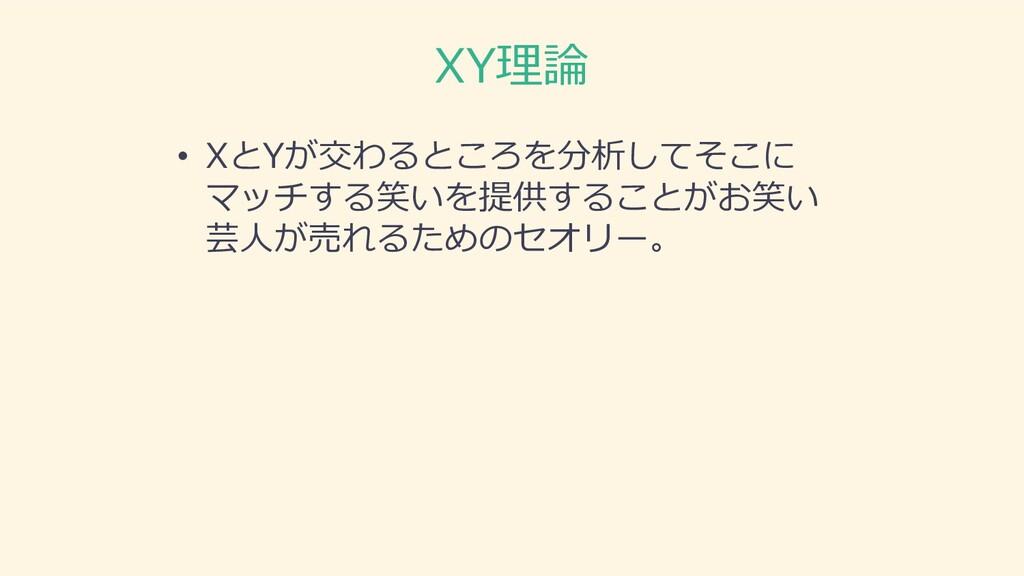 XY理論 • XとYが交わるところを分析してそこに マッチする笑いを提供することがお笑い 芸⼈...