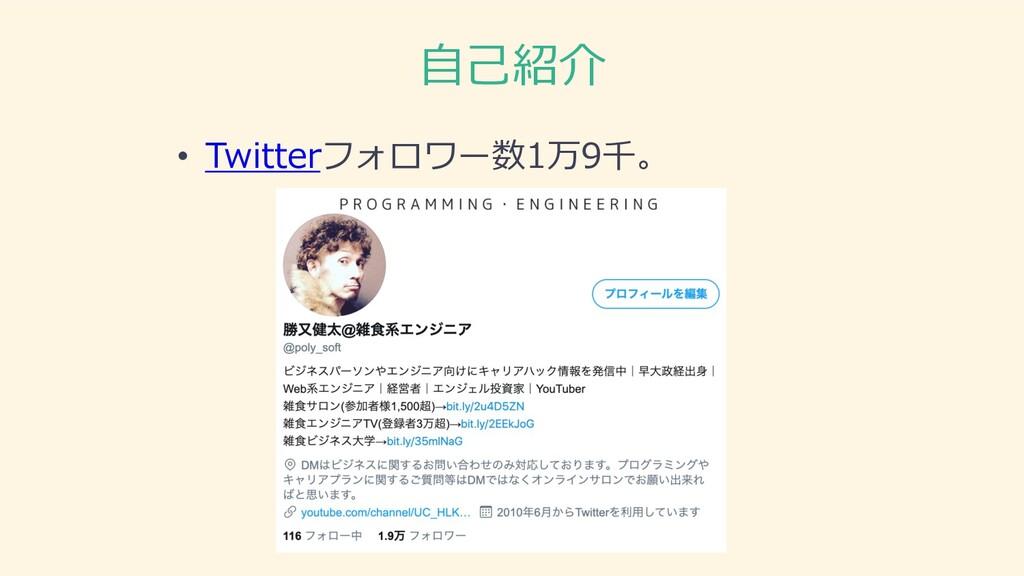 ⾃⼰紹介 • Twitterフォロワー数1万9千。