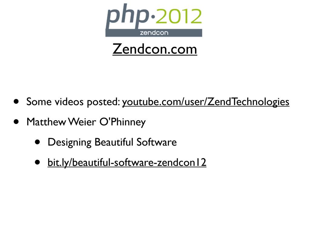 Zendcon.com • Some videos posted: youtube.com/u...