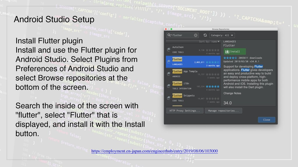 Install Flutter plugin Install and use the Flut...