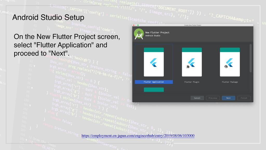 "On the New Flutter Project screen, select ""Flut..."