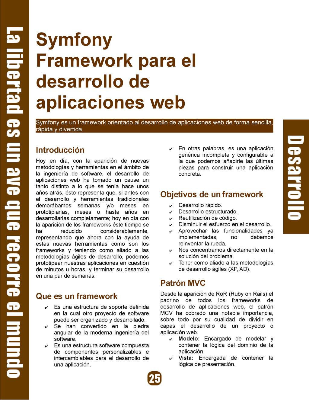 Symfony Framework para el desarrollo de aplicac...
