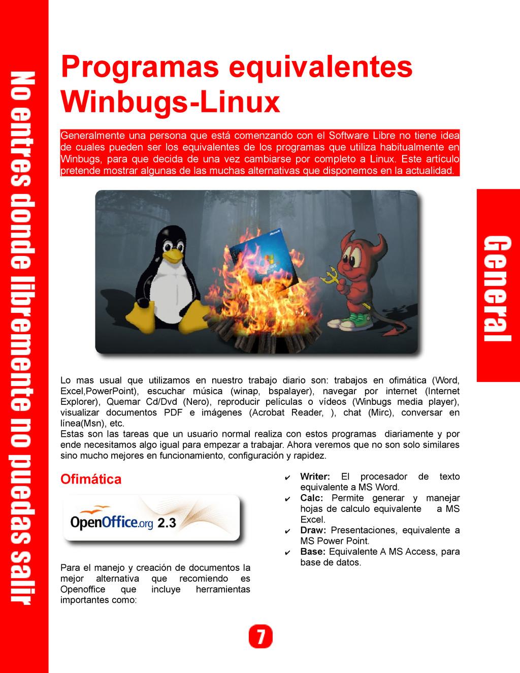 Programas equivalentes Winbugs-Linux Generalmen...
