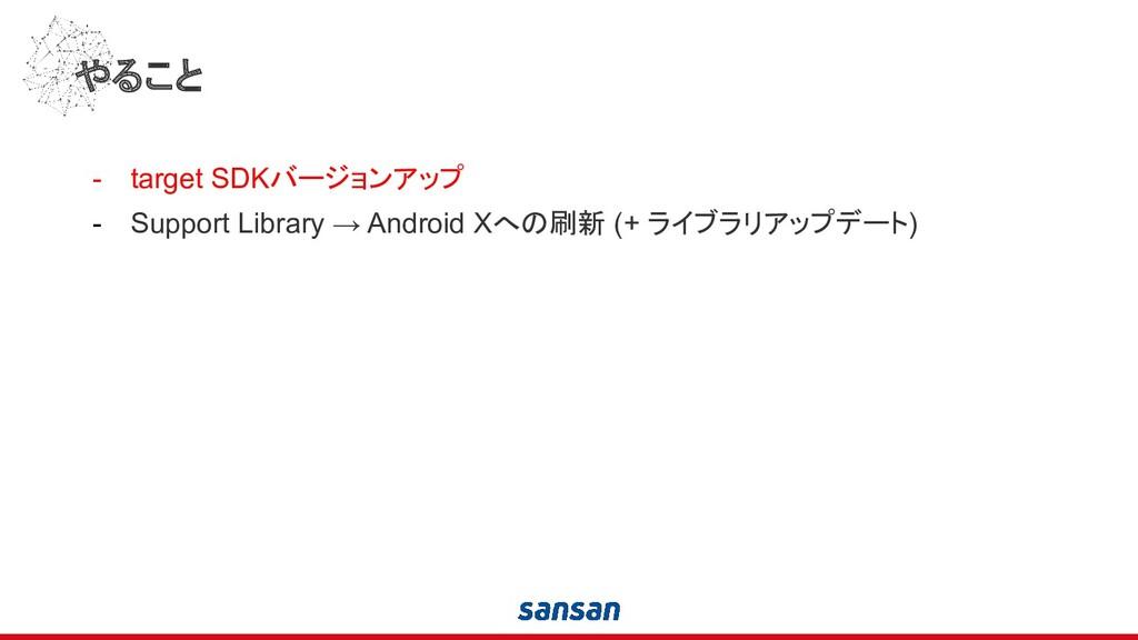 やること - target SDKバージョンアップ - Support Library → A...