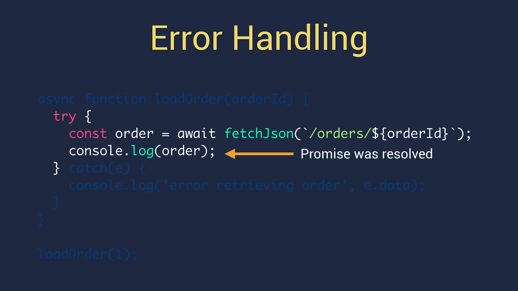 Error Handling async function loadOrder(orderId...