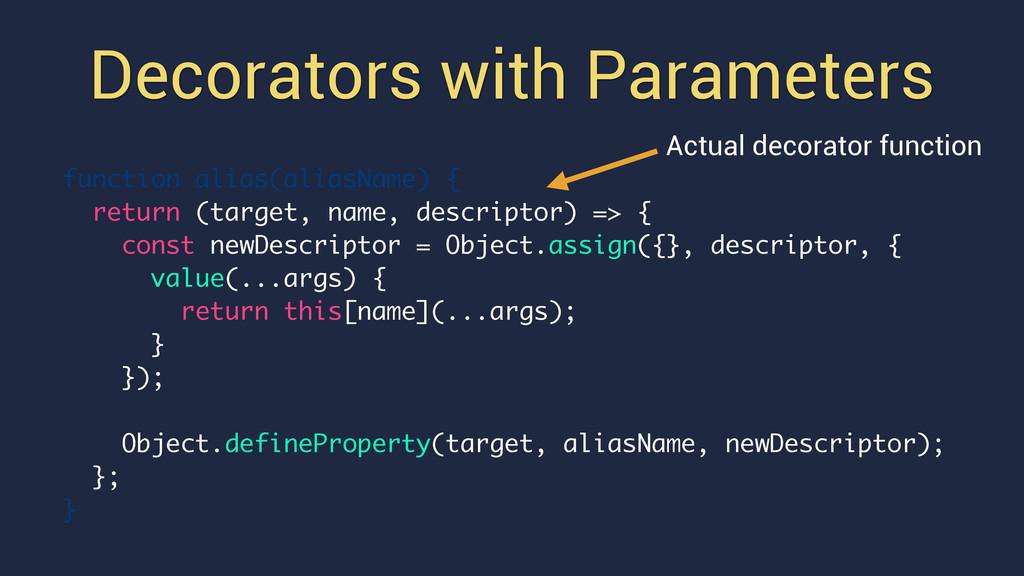 Decorators with Parameters function alias(alias...