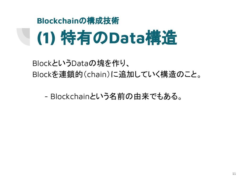 (1) 特有のData構造 BlockというDataの塊を作り、 Blockを連鎖的(chai...