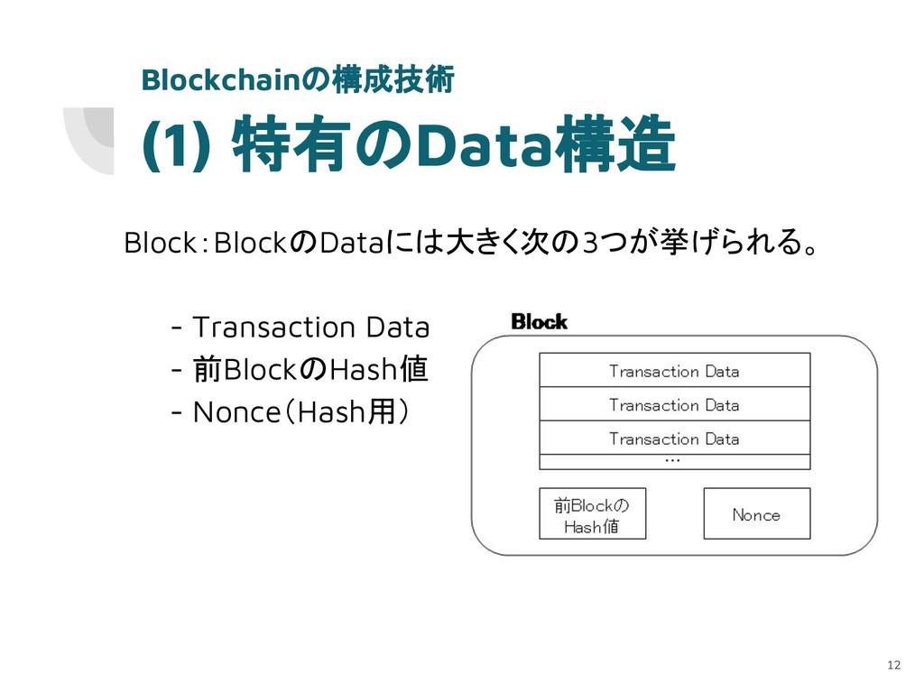(1) 特有のData構造 Block:BlockのDataには大きく次の3つが挙げられる。 ...