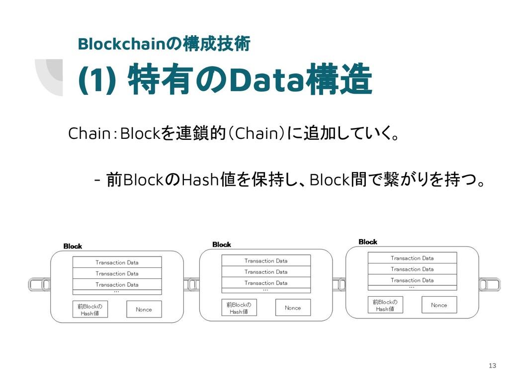 (1) 特有のData構造 Chain:Blockを連鎖的(Chain)に追加していく。 - ...