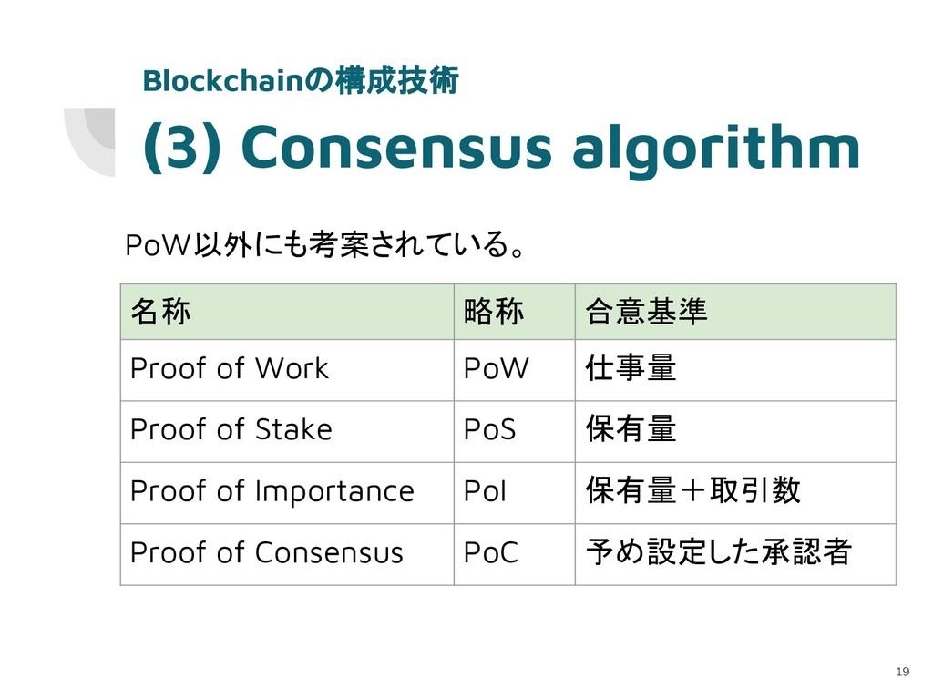 (3) Consensus algorithm PoW以外にも考案されている。 19 Bloc...