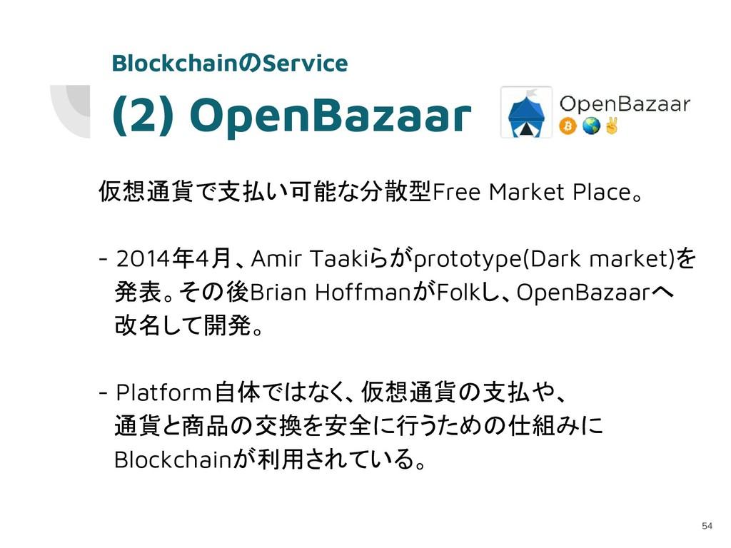 (2) OpenBazaar 仮想通貨で支払い可能な分散型Free Market Place。...