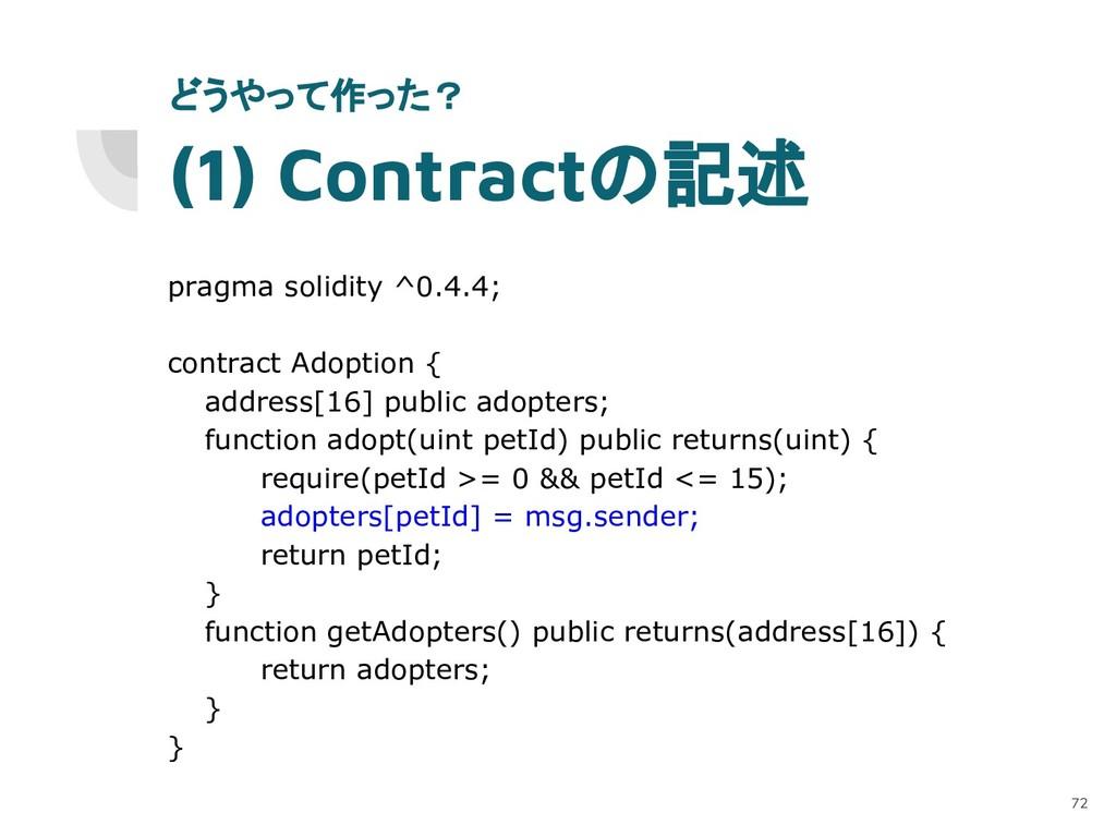 (1) Contractの記述 pragma solidity ^0.4.4; contrac...