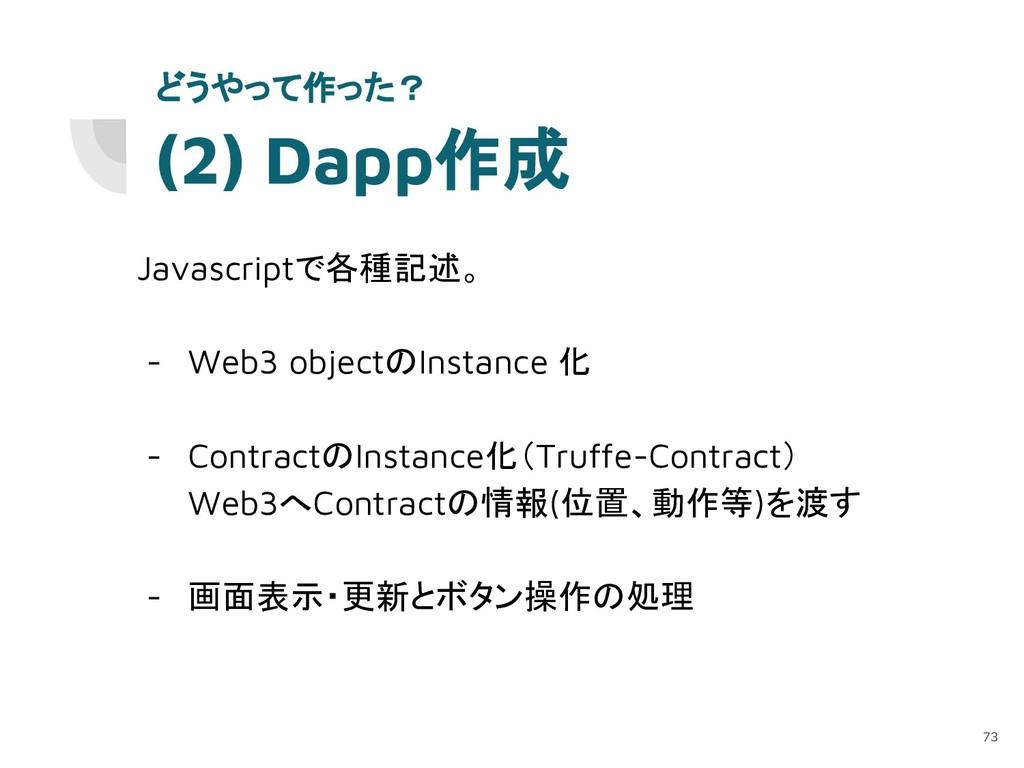 (2) Dapp作成 Javascriptで各種記述。 - Web3 objectのInsta...