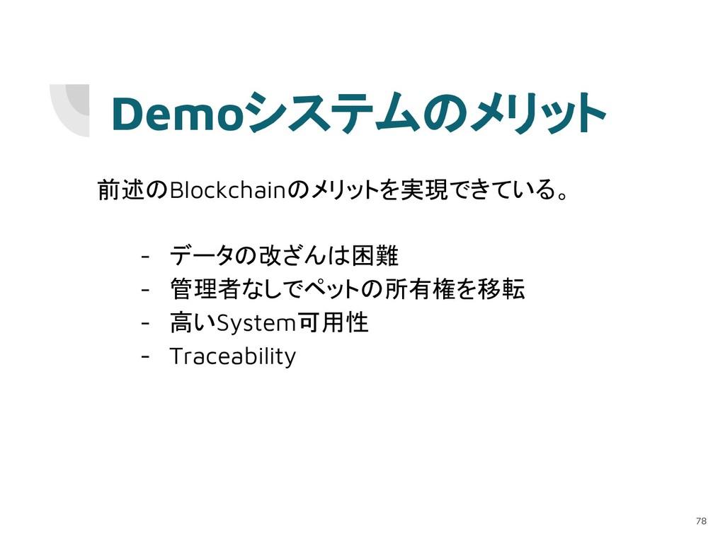 Demoシステムのメリット 前述のBlockchainのメリットを実現できている。 - データ...