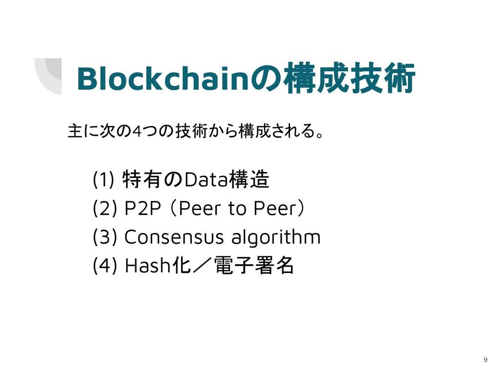 Blockchainの構成技術 主に次の4つの技術から構成される。 (1) 特有のData構造...