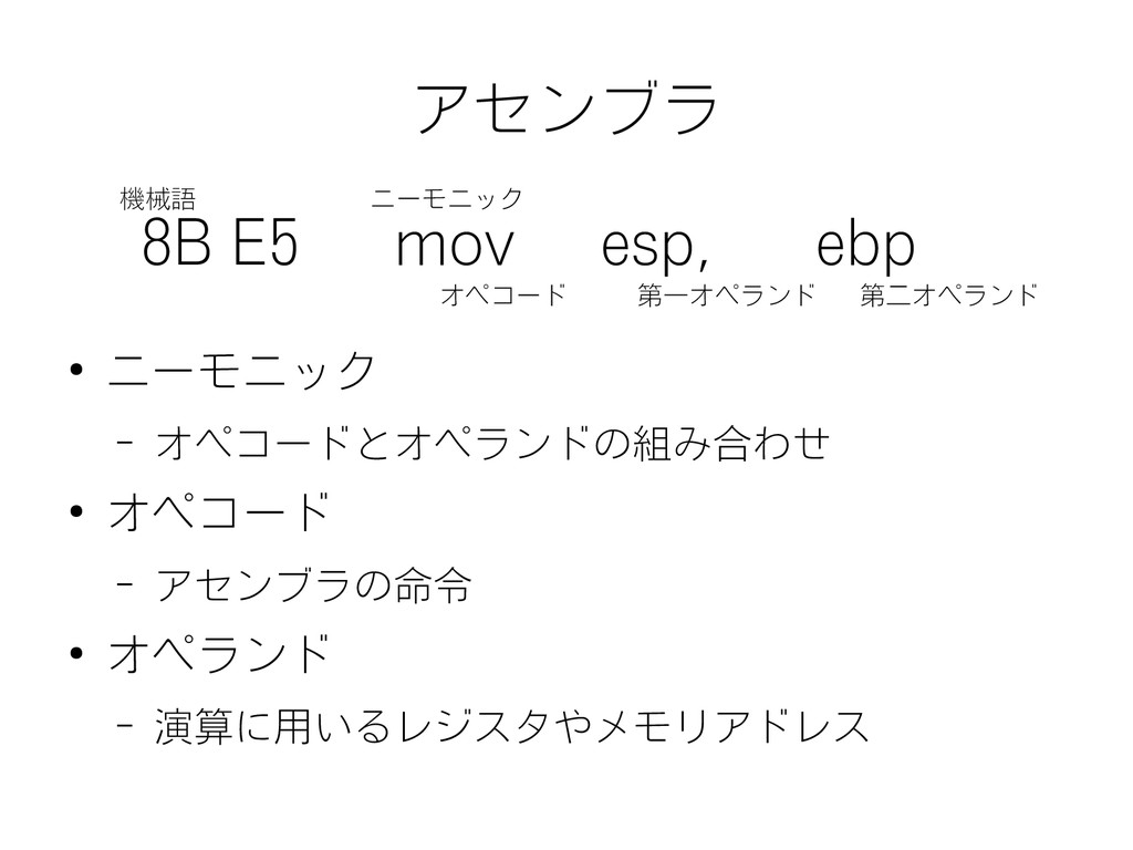アセンブラ 8B E5 mov esp, ebp ● ニーモニック – オペコードとオペランド...