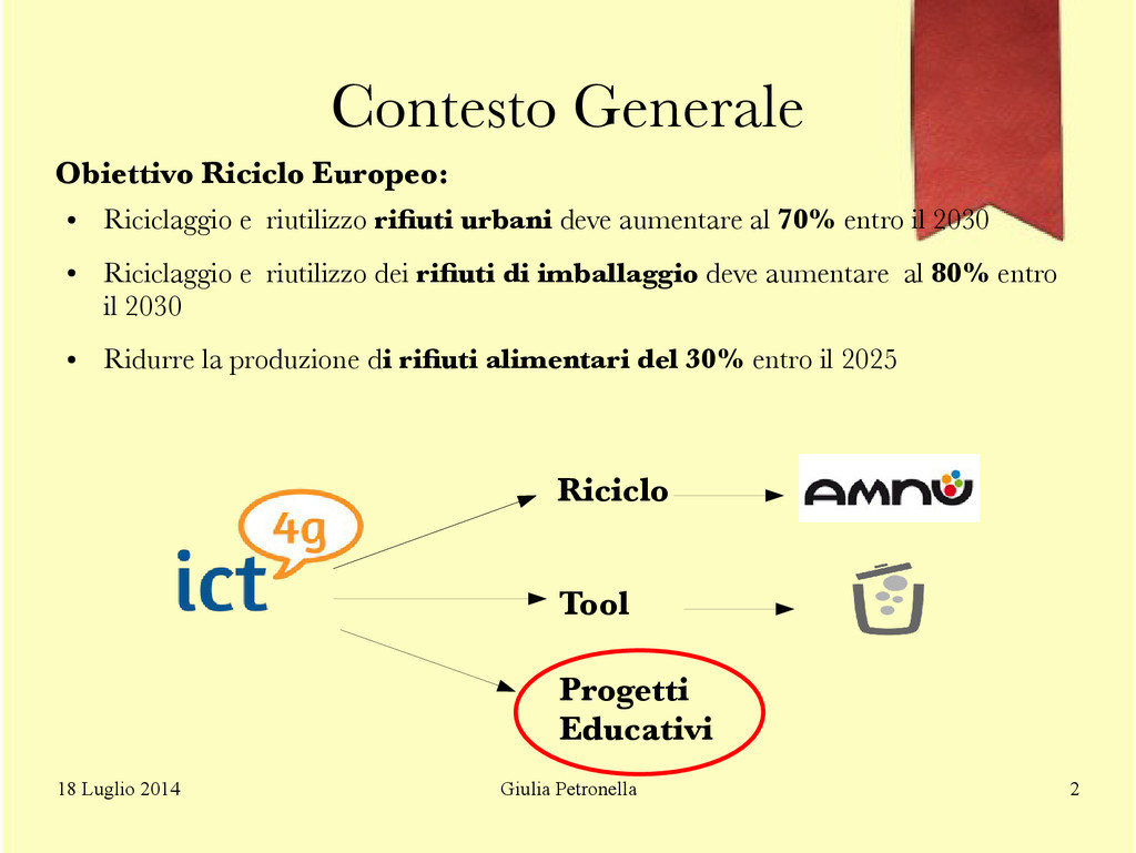 Giulia Petronella 18 Luglio 2014 2 Contesto Gen...
