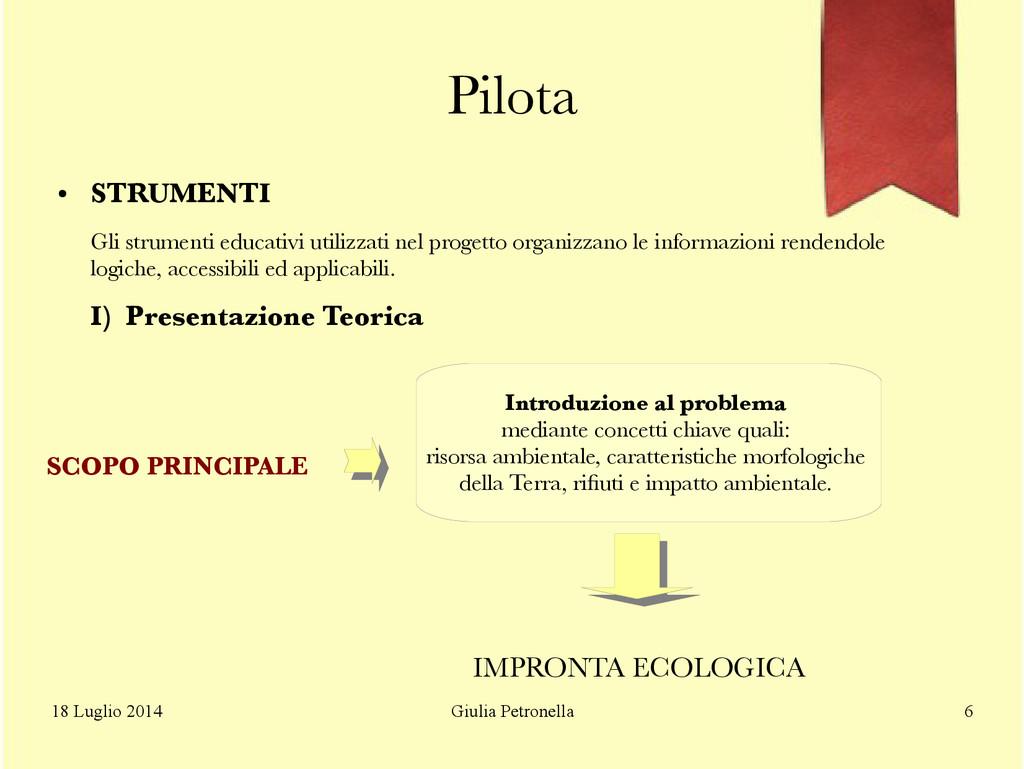 Giulia Petronella 18 Luglio 2014 6 Pilota ● STR...